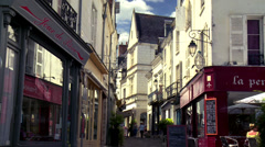 Pedestrian Street (1) - Loches France Stock Footage