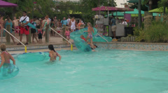 Waterpark People Getting Out of Swimming Pool Stock Footage