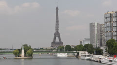 Eiffel Tower Paris Landmark Office Towers Isle of the Swans Liberty Statue Stock Footage