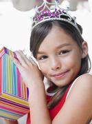 Cute Girl With Birthday Present Stock Photos