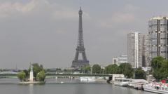 Famous Eiffel Tower Paris Cityscape Parisian Tour Boat Tourist Attraction Stock Footage