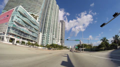 Driving along Biscayne Boulevard Stock Footage