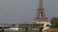World Famous Eiffel Tower Bir-Hakeim Bridge Subway Metro Train Passing Busy Stock Footage