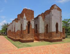 Ruin ancient brick church in history park. Stock Photos