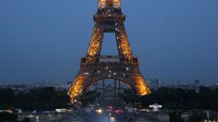 Illuminated Night Light Aerial View Eiffel Tower Paris City Overlook Pont d'Iena - stock footage