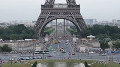 Aerial View Paris Eiffel Tower silhouette Pont d'Iena Car Traffic Busy Rush Hour - stock footage