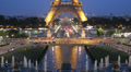 Reflection Illuminated Aerial View Eiffel Tower Landmark Paris Romantic Night Footage