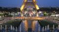 Reflection Illuminated Aerial View Eiffel Tower Landmark Paris Romantic Night HD Footage
