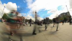 City Pedestrian Traffic Time Lapse London Fisheye - stock footage