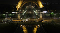 Illuminated Night Aerial View Iconic Eiffel Tower Paris Cityscape Reflection Footage