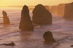 Australia Victoria Great Ocean Road Twelve Apostles at sunset - stock photo