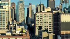 New York 281 Manhattan, Skyline in sunset light seen from Hudson River Stock Footage