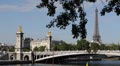 Paris Skyline Eiffel Tower silhouette Golden Statues Alexander III Bridge Pont Footage