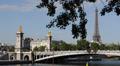 Paris Skyline Eiffel Tower silhouette Golden Statues Alexander III Bridge Pont HD Footage