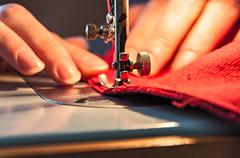sewing process - stock photo