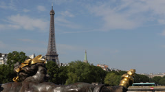 Eiffel Tower Paris Capital, Nymphs of the Seine Alexander III Bridge Pont Sunny Stock Footage