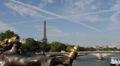 Eiffel Tower Paris Skyline Nymphs of Seine Alexander III Bridge Pont Tour Boat Footage