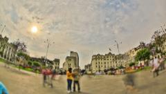City Pedestrian Traffic Time Lapse Lima HDR Stock Footage