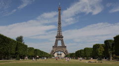 World Famous Eiffel Tower Paris Champ de Mars, Lovers Community, Family Holiday Stock Footage