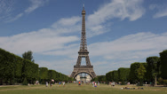 Stock Video Footage of World Famous Eiffel Tower Paris Champ de Mars, Lovers Community, Family Holiday