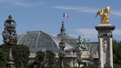 Paris Pont Alexandre III Grand Palais Bronze Statues Fames Alexander III Bridge Stock Footage