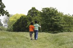 Brothers Walking In Field - stock photo