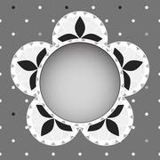Floral greeting card- grayscale Stock Illustration
