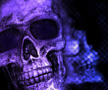Violet skull scary background Stock Illustration