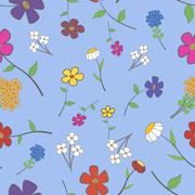 cyan floral seamless - stock illustration