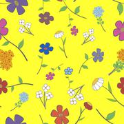 yellow floral seamless - stock illustration
