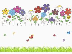 floral set - stock illustration