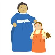 mother and daughter - stock illustration