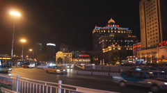 Harbin 21 Night traffic Stock Footage