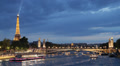 Illuminated Night Iconic Eiffel Tower Paris Tourists Visiting Boats Seine River Footage