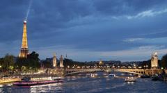 Illuminated Night Iconic Eiffel Tower Paris Tourists Visiting Boats Seine River Stock Footage