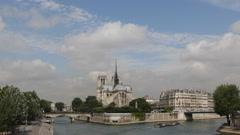 Tourist Passengers Enjoy Boat Trip Seine River Notre Dame Cathedral Paris France Stock Footage
