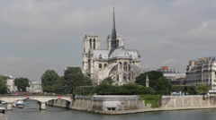 Famous Notre Dame Tour Boat passing Seine River Paris France Ship Moving French Stock Footage