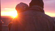 Stock Video Footage of Couple is Looking Away in Golden Hour