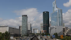 Grande Arche La Defense Paris Skyline Highway Freeway Car Traffic Urban Busy Day Stock Footage