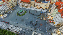 City Pedestrian Traffic Time Lapse Prague Stock Footage
