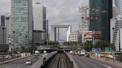 Business District La Defense Historical Axis Paris France Busy Car Traffic Crowd - stock footage