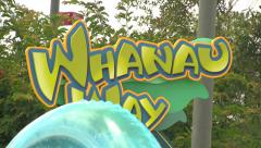 Waterpark Visitors Walking Past Signage Stock Footage