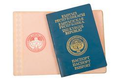 kyrgyz passport - stock photo
