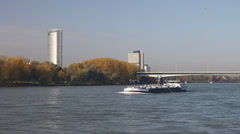 river Rhine in Bonn, Germany - stock footage