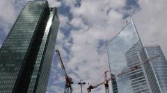 Under Construction Building Crane Blue Sky La Defense Paris Skyline Office Tower Stock Footage
