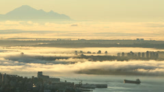Mount Baker, Burrard Inlet Morning Fog Stock Footage