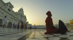 Amritsar Golden Temple prayer sunset time lapse Stock Footage