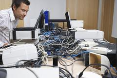 Executive And Hardware Mess In Office Stock Photos
