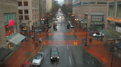 City Traffic Sequence Rainy Stock Footage