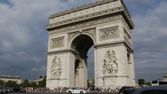 Stock Video Footage of Iconic Symbol Arc de Triomphe l'Etoile Triumphal Arch Paris France Car Traffic